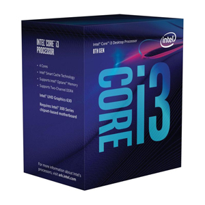 CPU Intel Core i3-8100 6 MB SmartCache 4 Cores/4 Threads 3.60GHz Processor Base Frequency
