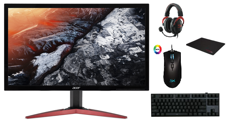 Gaming Accessories Offer : Acer Screen 144 hz 1ms / Hyperx Set Mouse, Mouse Pad, Keyboard, Headset