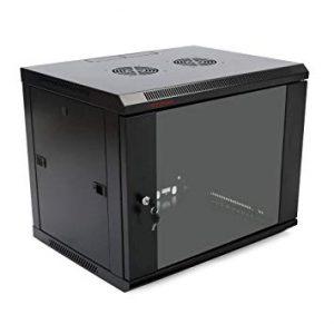 Eusso Wall Mounted Cabinet MS-EWM6406B 6U Dimensions W600*D450 Door Type Front Glass -  Rear Metal1 Cooling Fan