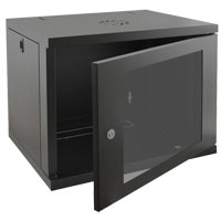 Eusso Wall Mount Cabinet MS-EWM6609B 9U Dimensions W600*D600 Door Type Front Glass - Rear Metal 1 Cooling Fan