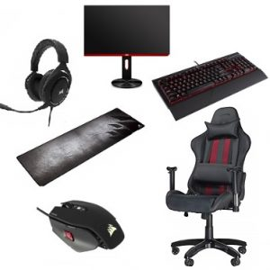 Gaming Accessories Offer : Corsair Mouse + Mouse Pad + Keyboard + Headset / German Regger Chair / Aoc Screen 25