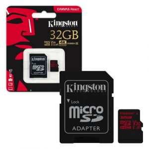 Kingston Micro SD 4K  SDCR   microSDHC Canvas React 100R/70W U3 UHS-I V30 A1 Card + SD Adptr