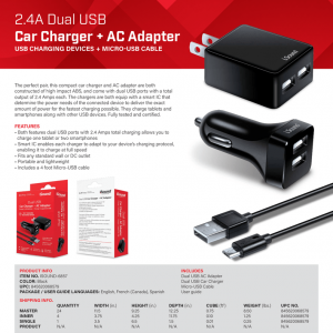 iSound 6857 2.4A DUAL USB AC ADAPTER + 2.4A DUAL USB CAR CHARGER + CABLE